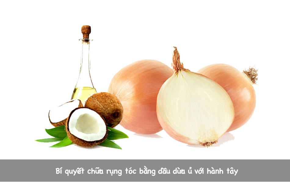 Bí quyết chữa rụng tóc bằng dầu dừa ủ với hành tây