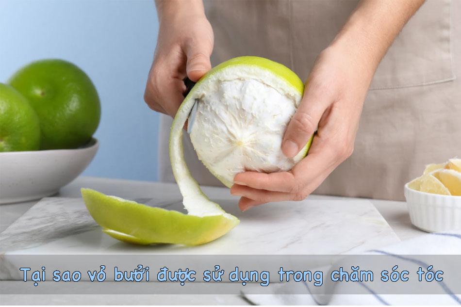 vỏ bưởi được sử dụng trong chăm sóc tóc
